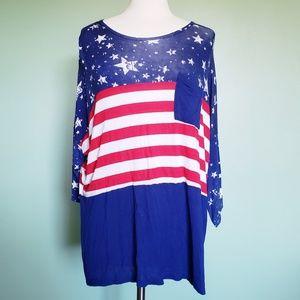 RUE+ Patriotic Long Sleeve Top